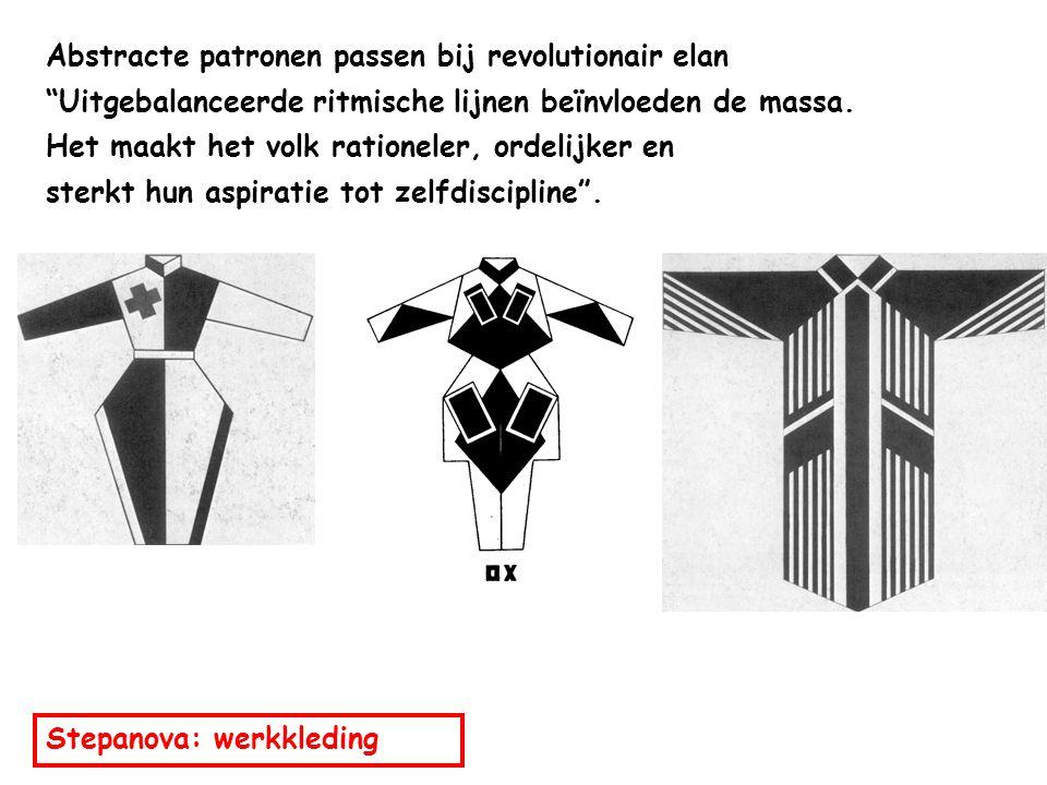 Abstracte patronen passen bij revolutionair elan Uitgebalanceerde ritmische lijnen beïnvloeden de massa.
