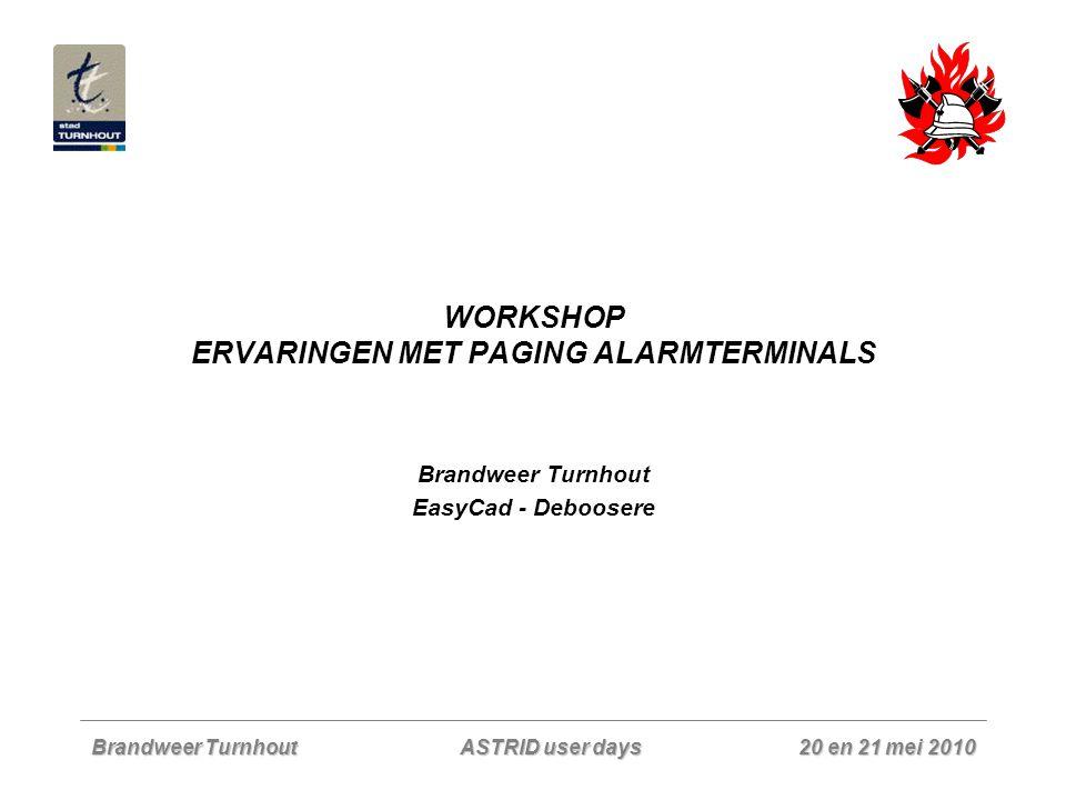 Brandweer Turnhout 20 en 21 mei 2010 ASTRID user days WORKSHOP ERVARINGEN MET PAGING ALARMTERMINALS Brandweer Turnhout EasyCad - Deboosere