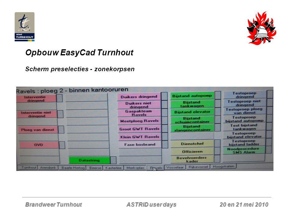 Brandweer Turnhout 20 en 21 mei 2010 ASTRID user days Opbouw EasyCad Turnhout Scherm preselecties - zonekorpsen