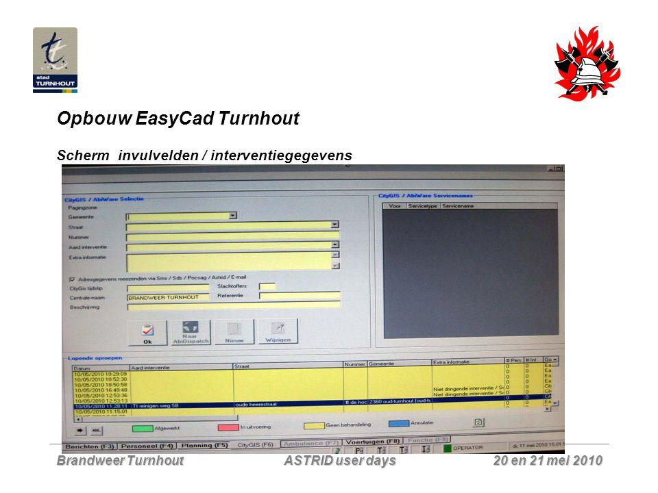 Brandweer Turnhout 20 en 21 mei 2010 ASTRID user days Opbouw EasyCad Turnhout Scherm invulvelden / interventiegegevens