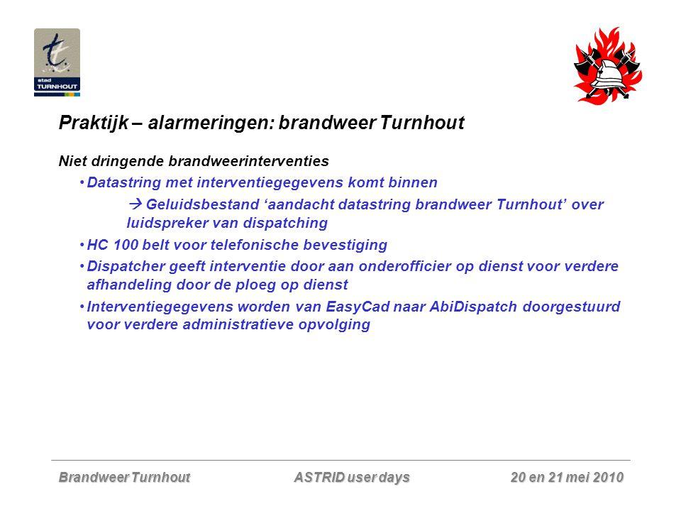 Brandweer Turnhout 20 en 21 mei 2010 ASTRID user days Praktijk – alarmeringen: brandweer Turnhout Niet dringende brandweerinterventies Datastring met