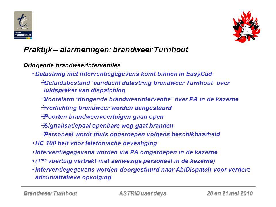 Brandweer Turnhout 20 en 21 mei 2010 ASTRID user days Praktijk – alarmeringen: brandweer Turnhout Dringende brandweerinterventies Datastring met inter