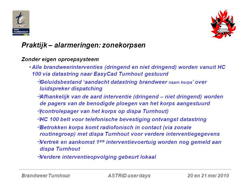 Brandweer Turnhout 20 en 21 mei 2010 ASTRID user days Praktijk – alarmeringen: zonekorpsen Zonder eigen oproepsysteem Alle brandweerinterventies (drin