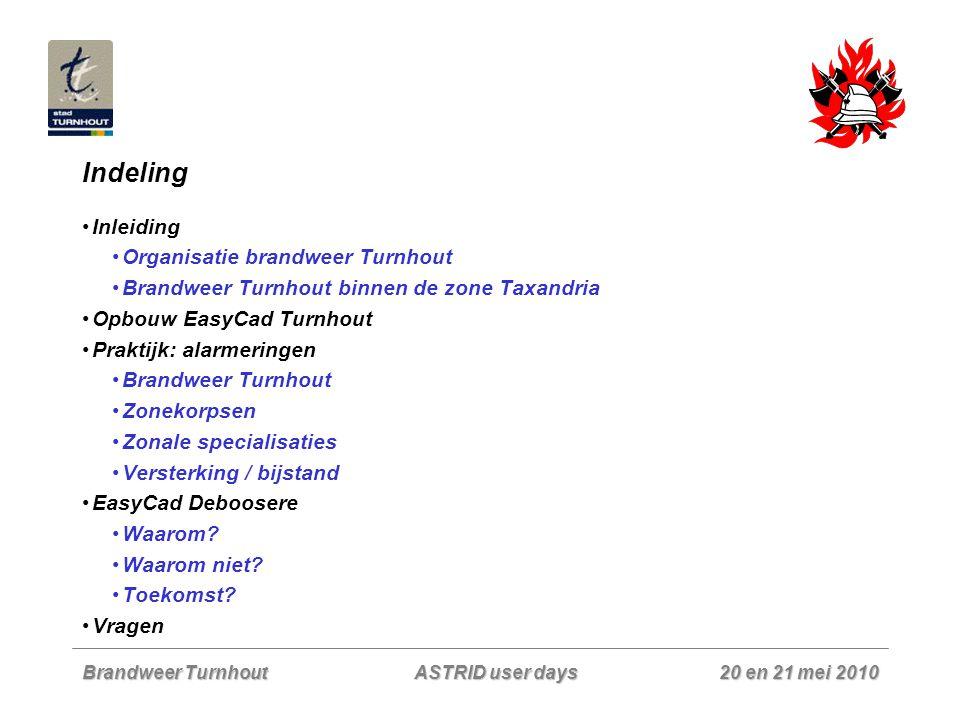 Brandweer Turnhout 20 en 21 mei 2010 ASTRID user days Inleiding - situatieschets Brandweer Turnhout 39 beroeps (brwm – kpl – ooff) in 3 ploegen voor permanentie 6u-22u 50 vrijwilligers verdeeld over 7 ploegen voor permanentie nacht en zaterdagnammiddag (aangevuld met 2 beroeps voor dispatching) 4 officieren beroeps in dagdienst  6u-22u: minimumbezetting van 9 man (waarvan 1 dispatcher)  22u-6u: bezetting van 7 man (waarvan 1 dispatcher) 3 erkende ziekenwagens voor DGH  Ziekenwagens en niet dringende interventies: personeel in de kazerne  Dringende brandweerinterventies: 1 ste uitruk vanuit de kazerne + 2 de lijns met personeel dat thuis wordt opgeroepen