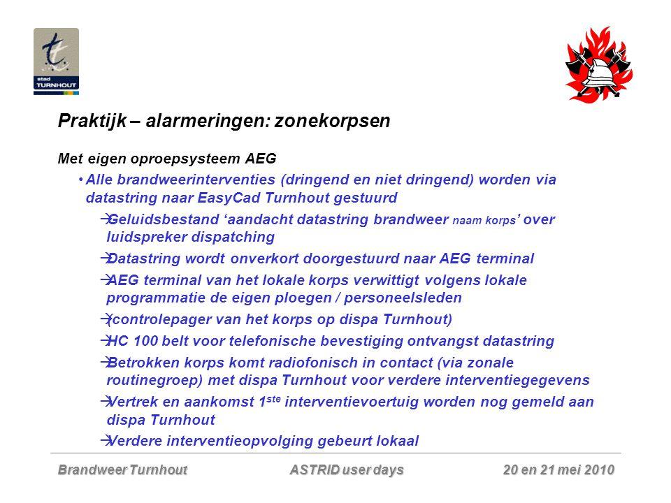 Brandweer Turnhout 20 en 21 mei 2010 ASTRID user days Praktijk – alarmeringen: zonekorpsen Met eigen oproepsysteem AEG Alle brandweerinterventies (dri