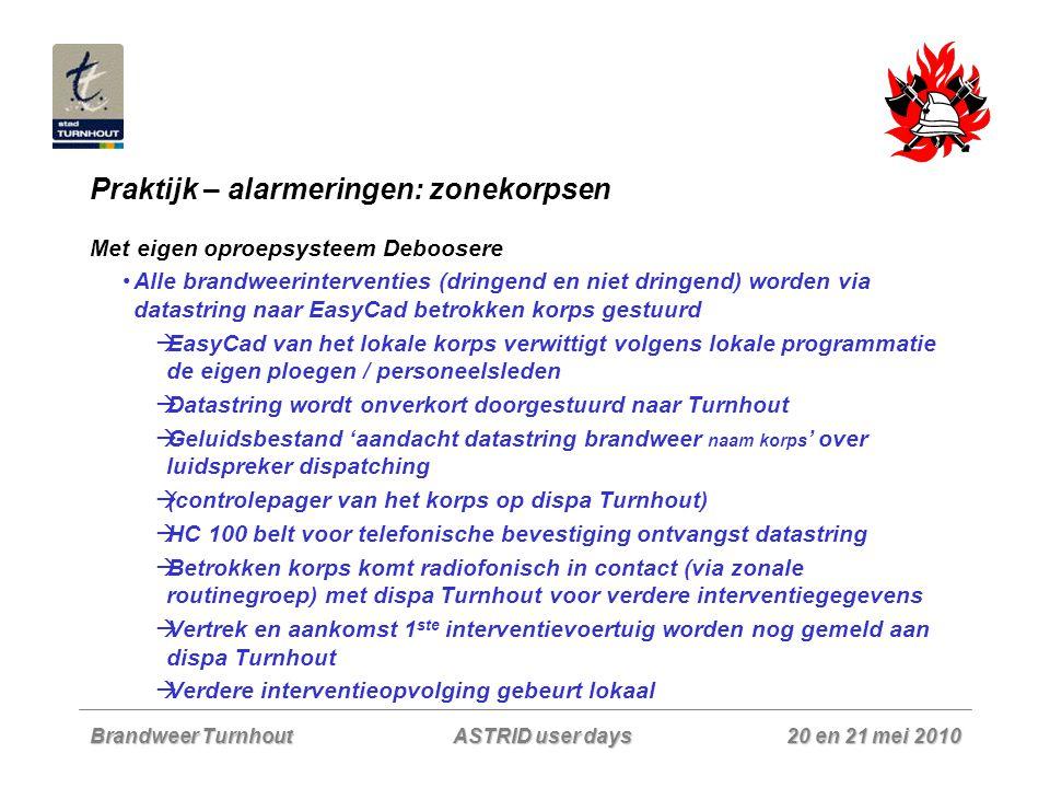 Brandweer Turnhout 20 en 21 mei 2010 ASTRID user days Praktijk – alarmeringen: zonekorpsen Met eigen oproepsysteem Deboosere Alle brandweerinterventie