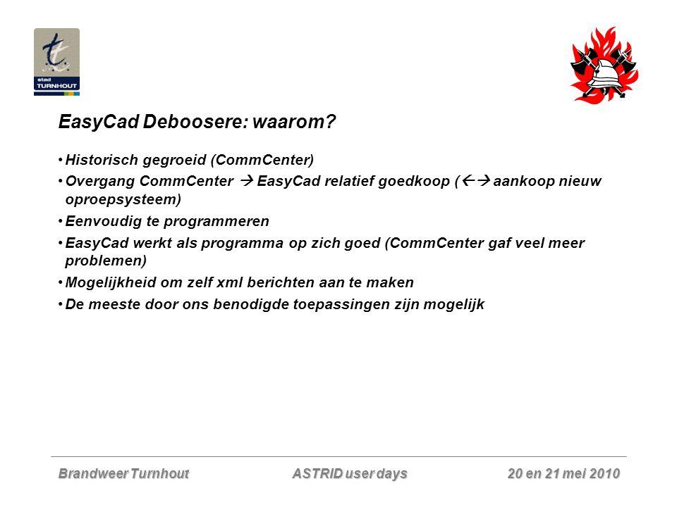 Brandweer Turnhout 20 en 21 mei 2010 ASTRID user days EasyCad Deboosere: waarom? Historisch gegroeid (CommCenter) Overgang CommCenter  EasyCad relati