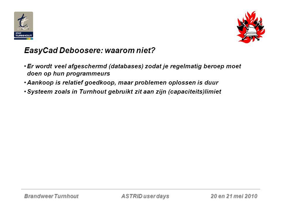 Brandweer Turnhout 20 en 21 mei 2010 ASTRID user days EasyCad Deboosere: waarom niet? Er wordt veel afgeschermd (databases) zodat je regelmatig beroep