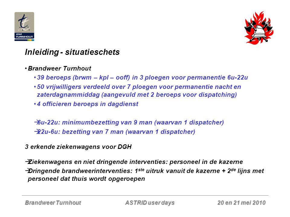 Brandweer Turnhout 20 en 21 mei 2010 ASTRID user days Inleiding - situatieschets Zone Taxandria