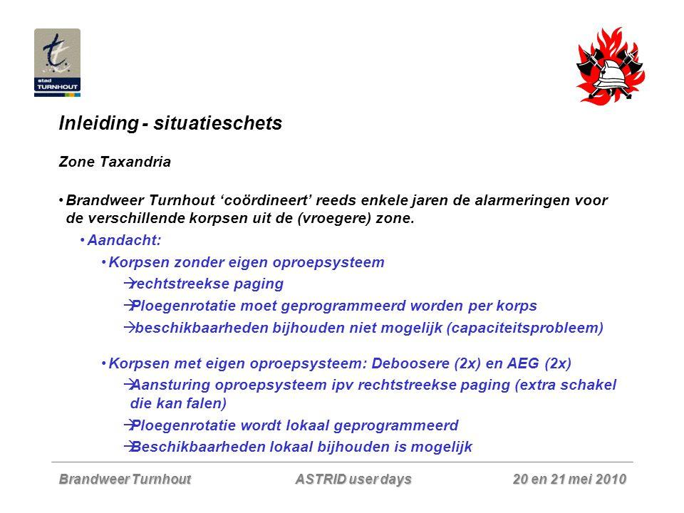 Brandweer Turnhout 20 en 21 mei 2010 ASTRID user days Inleiding - situatieschets Zone Taxandria Brandweer Turnhout 'coördineert' reeds enkele jaren de