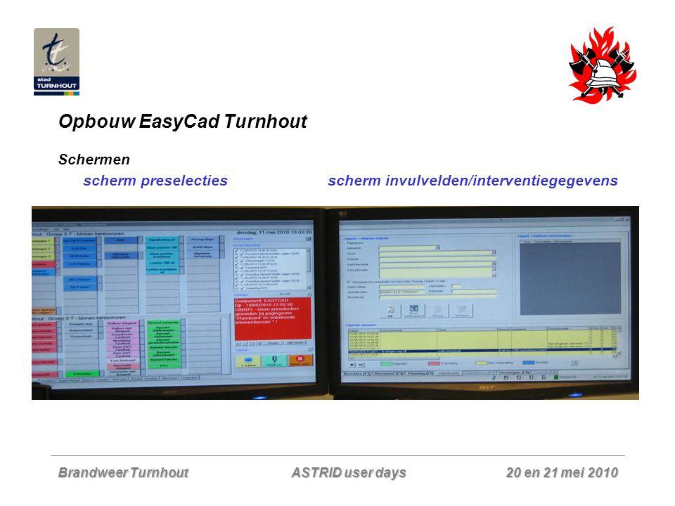 Brandweer Turnhout 20 en 21 mei 2010 ASTRID user days Opbouw EasyCad Turnhout Scherm preselecties