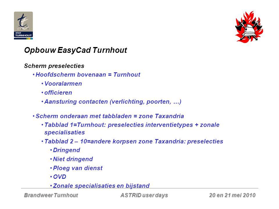 Brandweer Turnhout 20 en 21 mei 2010 ASTRID user days Opbouw EasyCad Turnhout Scherm preselecties Hoofdscherm bovenaan = Turnhout Vooralarmen officier