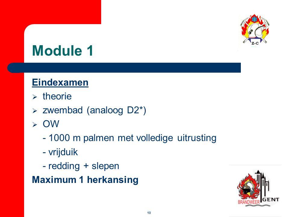 10 Module 1 Eindexamen  theorie  zwembad (analoog D2*)  OW - 1000 m palmen met volledige uitrusting - vrijduik - redding + slepen Maximum 1 herkans