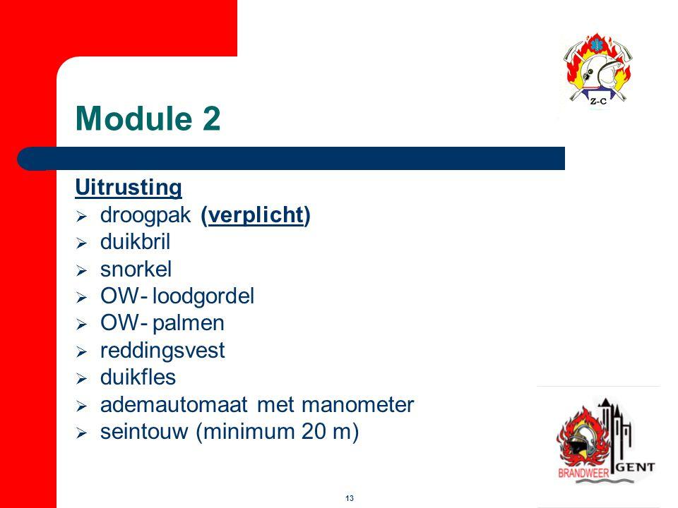13 Module 2 Uitrusting  droogpak (verplicht)  duikbril  snorkel  OW- loodgordel  OW- palmen  reddingsvest  duikfles  ademautomaat met manomete