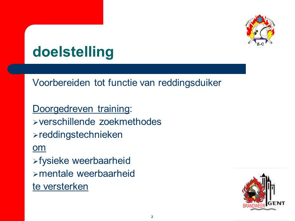 2 doelstelling Voorbereiden tot functie van reddingsduiker Doorgedreven training:  verschillende zoekmethodes  reddingstechnieken om  fysieke weerb