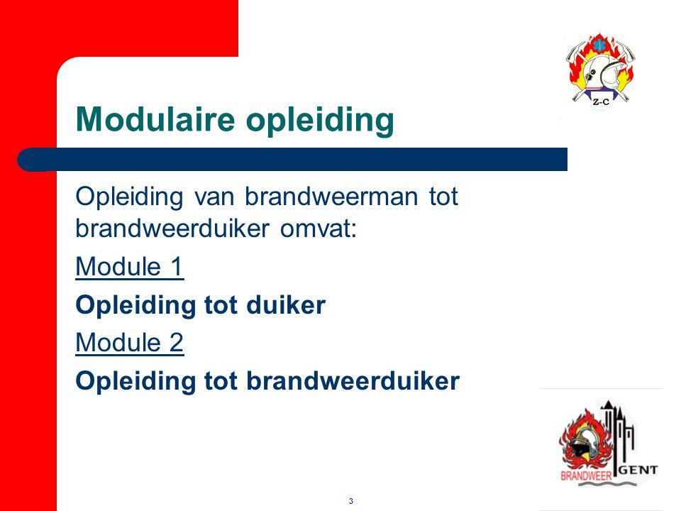 14 Module 2 Opleiding (40 uren)  Theorie: - barotrauma's - secundaire ziekten - infectieziekten - gebruik droogpak - tactiek brandweerduiken - taken van de brandweerduiker - uitrusting van de brandweerduiker - zoekmethodes - verdrinking en onderkoeling m.b.t.
