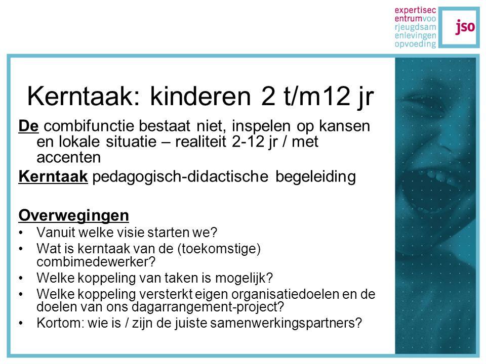 Kerntaak: kinderen 2 t/m12 jr De combifunctie bestaat niet, inspelen op kansen en lokale situatie – realiteit 2-12 jr / met accenten Kerntaak pedagogisch-didactische begeleiding Overwegingen Vanuit welke visie starten we.