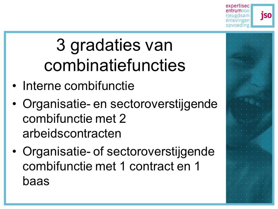 3 gradaties van combinatiefuncties Interne combifunctie Organisatie- en sectoroverstijgende combifunctie met 2 arbeidscontracten Organisatie- of sectoroverstijgende combifunctie met 1 contract en 1 baas