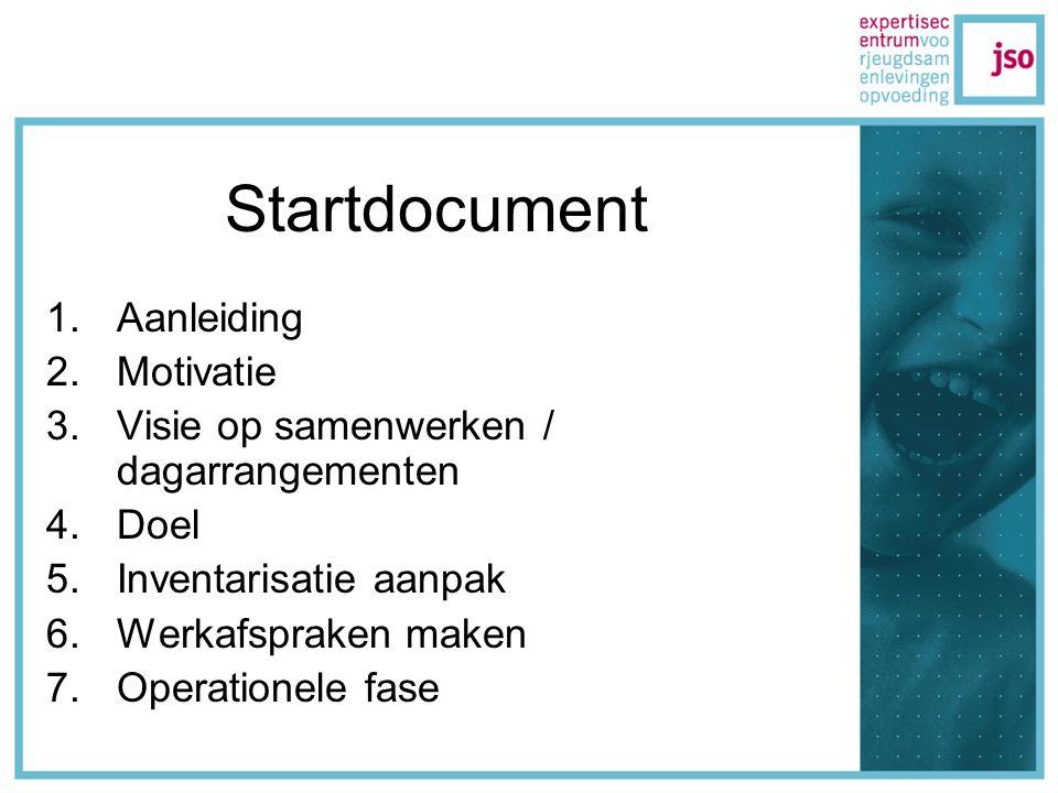 Startdocument 1.Aanleiding 2.Motivatie 3.Visie op samenwerken / dagarrangementen 4.Doel 5.Inventarisatie aanpak 6.Werkafspraken maken 7.Operationele fase