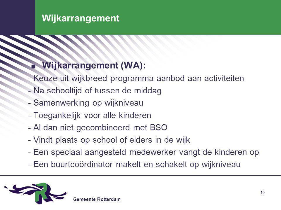 Gemeente Rotterdam 10 Wijkarrangement. Wijkarrangement (WA): - Keuze uit wijkbreed programma aanbod aan activiteiten - Na schooltijd of tussen de midd