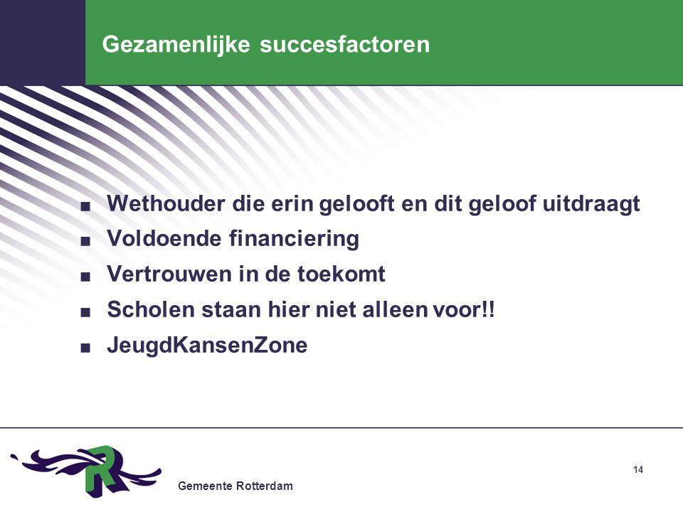 Gemeente Rotterdam 14 Gezamenlijke succesfactoren. Wethouder die erin gelooft en dit geloof uitdraagt. Voldoende financiering. Vertrouwen in de toekom