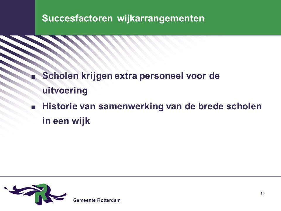 Gemeente Rotterdam 15 Succesfactoren wijkarrangementen. Scholen krijgen extra personeel voor de uitvoering. Historie van samenwerking van de brede sch