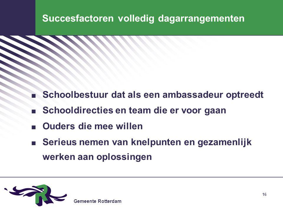 Gemeente Rotterdam 16 Succesfactoren volledig dagarrangementen. Schoolbestuur dat als een ambassadeur optreedt. Schooldirecties en team die er voor ga