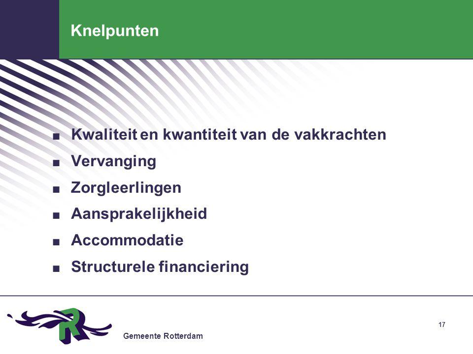 Gemeente Rotterdam Knelpunten. Kwaliteit en kwantiteit van de vakkrachten. Vervanging. Zorgleerlingen. Aansprakelijkheid. Accommodatie. Structurele fi