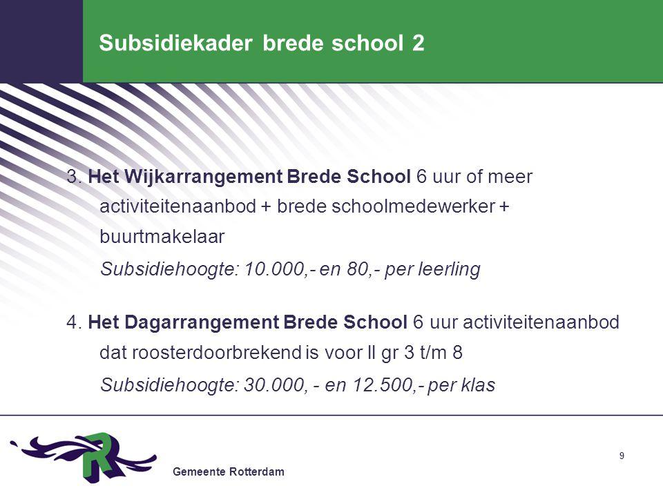 Gemeente Rotterdam 9 Subsidiekader brede school 2 3. Het Wijkarrangement Brede School 6 uur of meer activiteitenaanbod + brede schoolmedewerker + buur