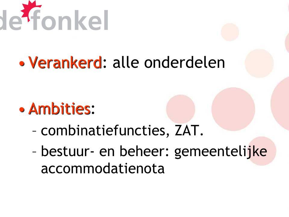 VerankerdVerankerd: alle onderdelen AmbitiesAmbities: –combinatiefuncties, ZAT.
