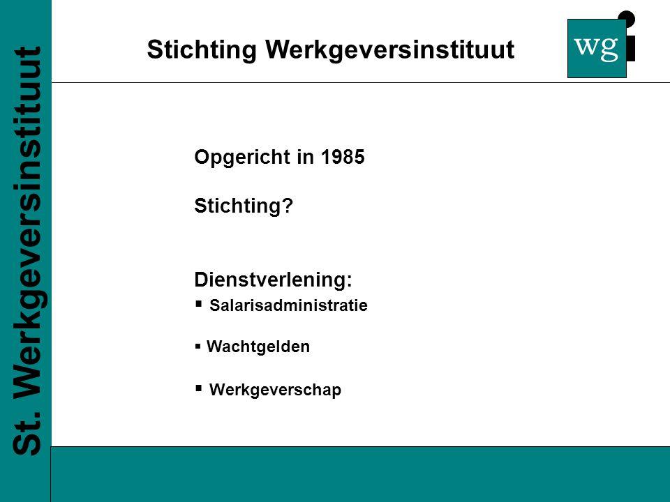 wg Stichting Werkgeversinstituut St. Werkgeversinstituut Opgericht in 1985 Stichting.