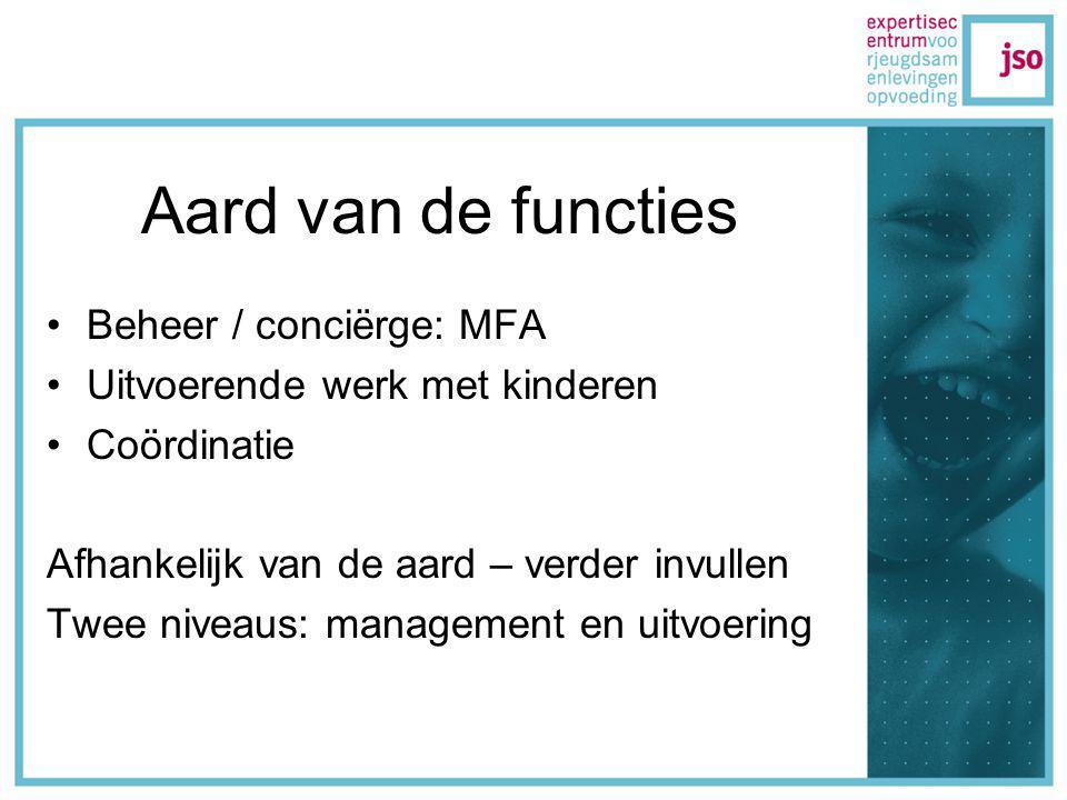 Aard van de functies Beheer / conciërge: MFA Uitvoerende werk met kinderen Coördinatie Afhankelijk van de aard – verder invullen Twee niveaus: management en uitvoering