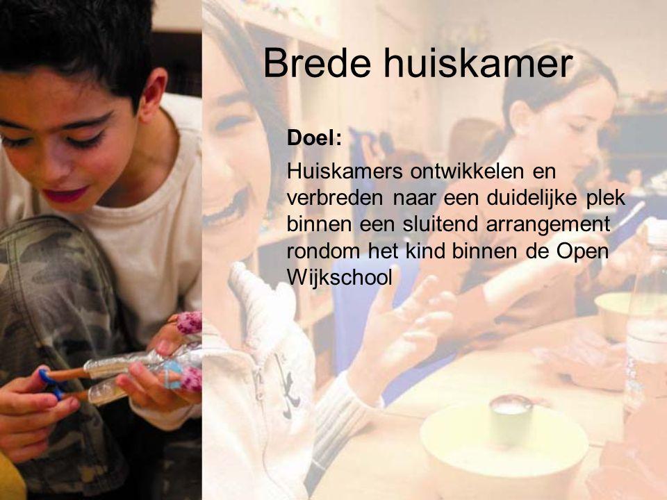 Brede huiskamer Doel: Huiskamers ontwikkelen en verbreden naar een duidelijke plek binnen een sluitend arrangement rondom het kind binnen de Open Wijkschool