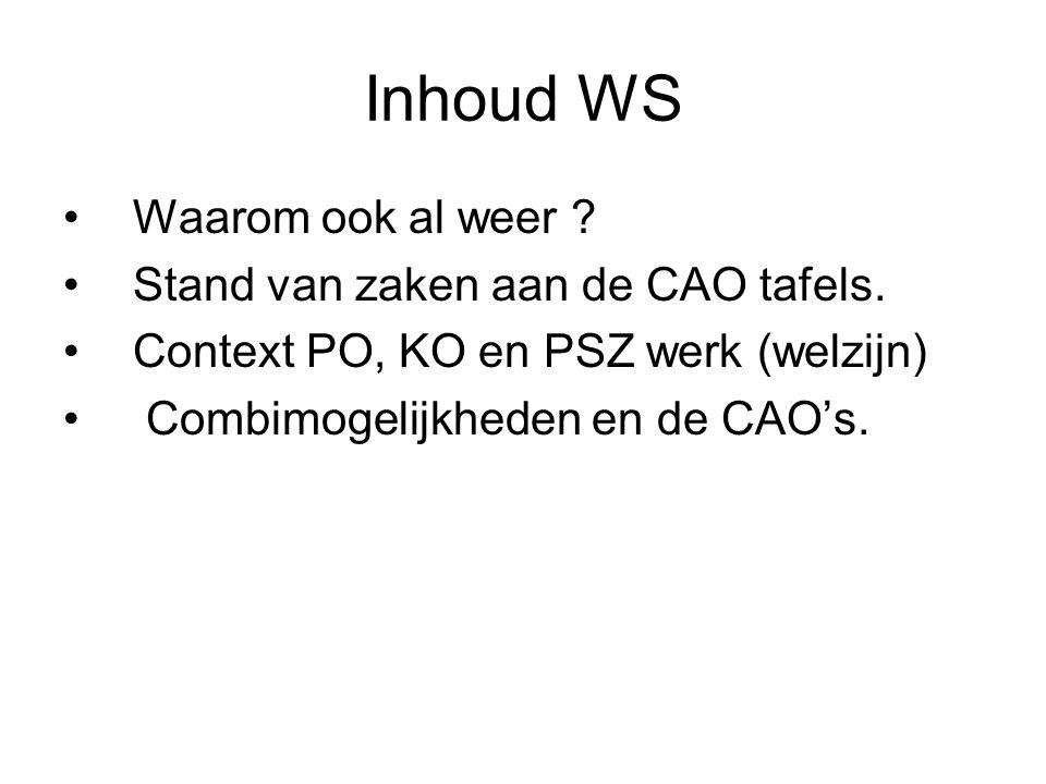 Inhoud WS Waarom ook al weer ? Stand van zaken aan de CAO tafels. Context PO, KO en PSZ werk (welzijn) Combimogelijkheden en de CAO's.