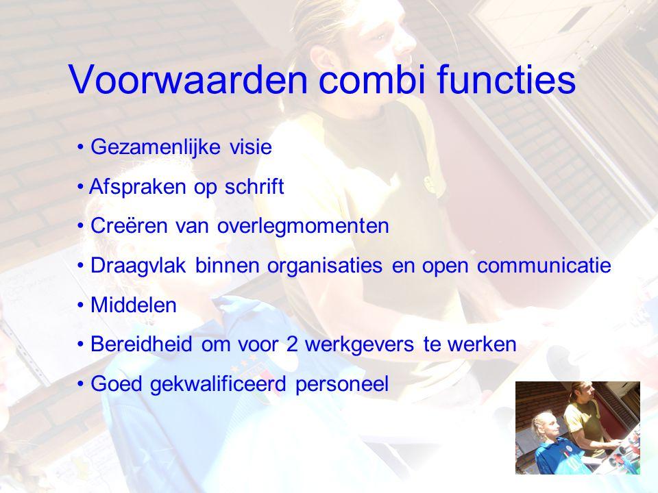 Voorwaarden combi functies Gezamenlijke visie Afspraken op schrift Creëren van overlegmomenten Draagvlak binnen organisaties en open communicatie Midd