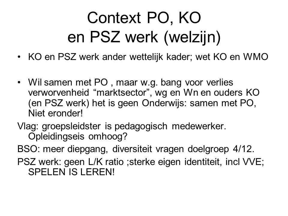 """Context PO, KO en PSZ werk (welzijn) KO en PSZ werk ander wettelijk kader; wet KO en WMO Wil samen met PO, maar w.g. bang voor verlies verworvenheid """""""