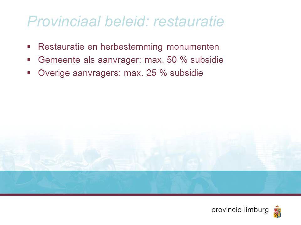 Provinciaal beleid: restauratie  Restauratie en herbestemming monumenten  Gemeente als aanvrager: max. 50 % subsidie  Overige aanvragers: max. 25 %