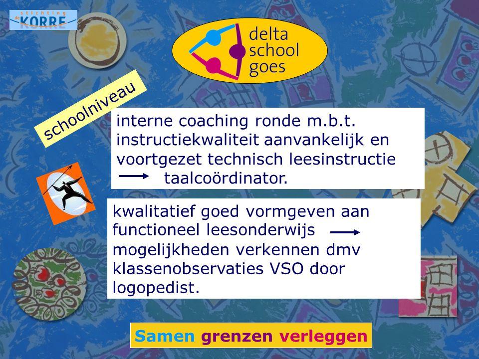 Samen grenzen verleggen interne coaching ronde m.b.t. instructiekwaliteit aanvankelijk en voortgezet technisch leesinstructie taalcoördinator. schooln