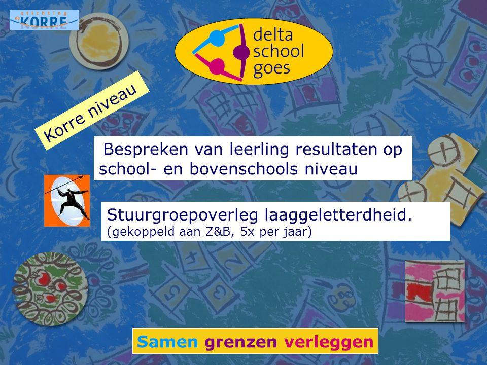 Samen grenzen verleggen Bespreken van leerling resultaten op school- en bovenschools niveau Stuurgroepoverleg laaggeletterdheid. (gekoppeld aan Z&B, 5