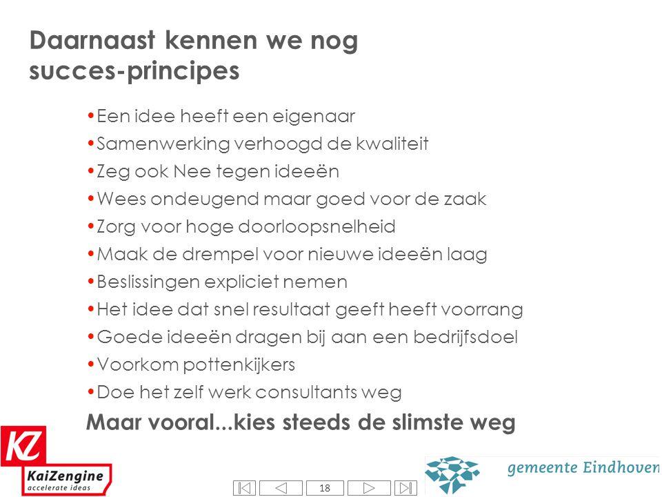18 Daarnaast kennen we nog succes-principes Een idee heeft een eigenaar Samenwerking verhoogd de kwaliteit Zeg ook Nee tegen ideeën Wees ondeugend maa