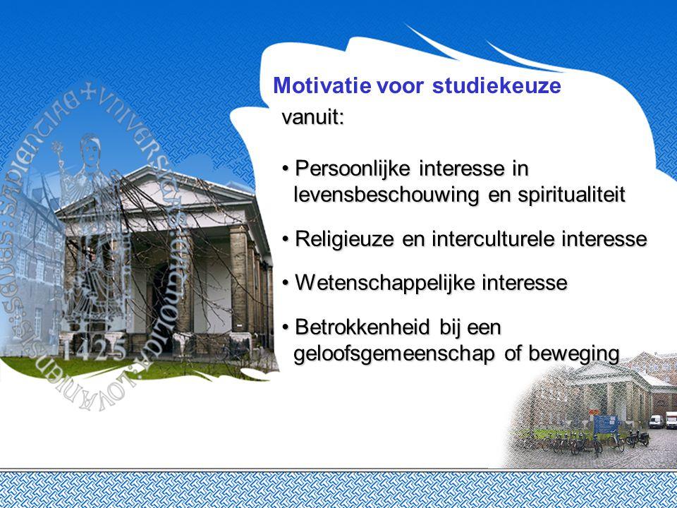 Motivatie voor studiekeuze vanuit: Persoonlijke interesse in levensbeschouwing en spiritualiteit Persoonlijke interesse in levensbeschouwing en spirit