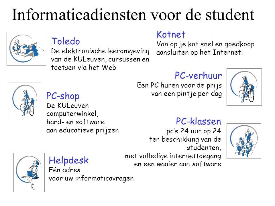 Informaticadiensten voor de student Toledo De elektronische leeromgeving van de KULeuven, cursussen en toetsen via het Web PC-verhuur Een PC huren voo