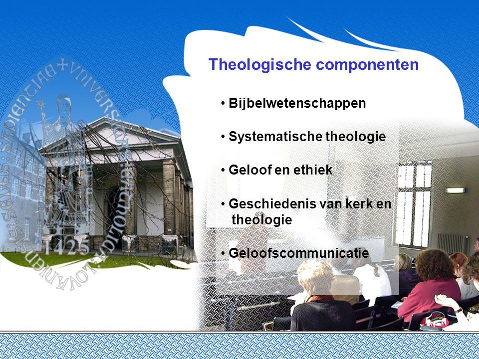 Theologische componenten Bijbelwetenschappen Systematische theologie Geloof en ethiek Geschiedenis van kerk en theologie Geloofscommunicatie