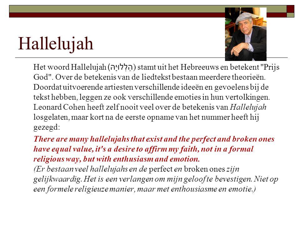 Hallelujah Het woord Hallelujah הַלְלוּיָהּ )) stamt uit het Hebreeuws en betekent