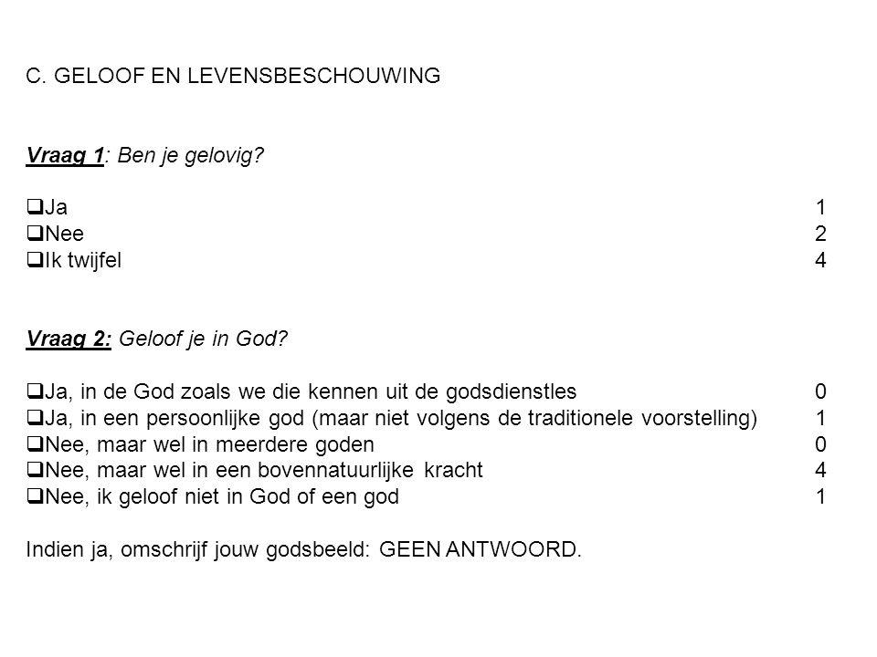 C. GELOOF EN LEVENSBESCHOUWING Vraag 1: Ben je gelovig?  Ja1  Nee2  Ik twijfel4 Vraag 2: Geloof je in God?  Ja, in de God zoals we die kennen uit