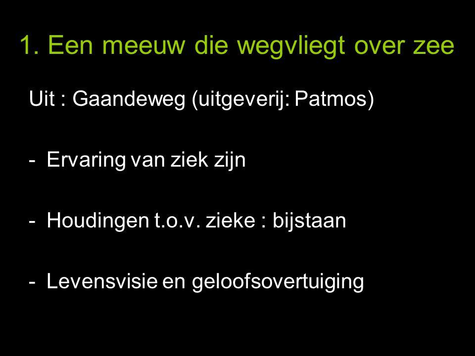 1. Een meeuw die wegvliegt over zee Uit : Gaandeweg (uitgeverij: Patmos) -Ervaring van ziek zijn -Houdingen t.o.v. zieke : bijstaan -Levensvisie en ge