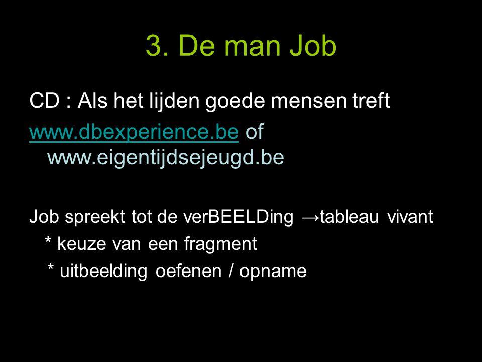 3. De man Job CD : Als het lijden goede mensen treft www.dbexperience.bewww.dbexperience.be of www.eigentijdsejeugd.be Job spreekt tot de verBEELDing