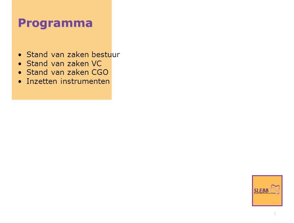 1Programma Stand van zaken bestuur Stand van zaken VC Stand van zaken CGO Inzetten instrumenten
