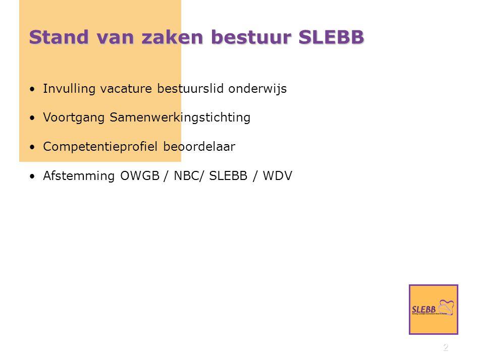 2 Stand van zaken bestuur SLEBB Invulling vacature bestuurslid onderwijs Voortgang Samenwerkingstichting Competentieprofiel beoordelaar Afstemming OWGB / NBC/ SLEBB / WDV