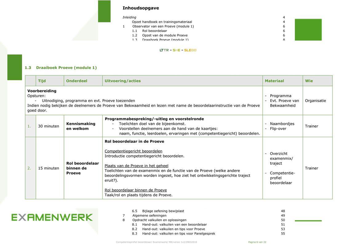 Deskundige Beoordelaar Competentieprofiel beoordelaar - beoordelen observeren - beoordelen bewijslast - beoordelen tijdens Panelgesprek - competenties Handboek training competentiegericht beoordelen - inhoudsopgave Trainingsmateriaal competentiegericht beoordelen - inhoudsopgave - voorbeeld draaiboek module 1